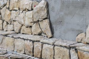 Wall cladding with natural stones.