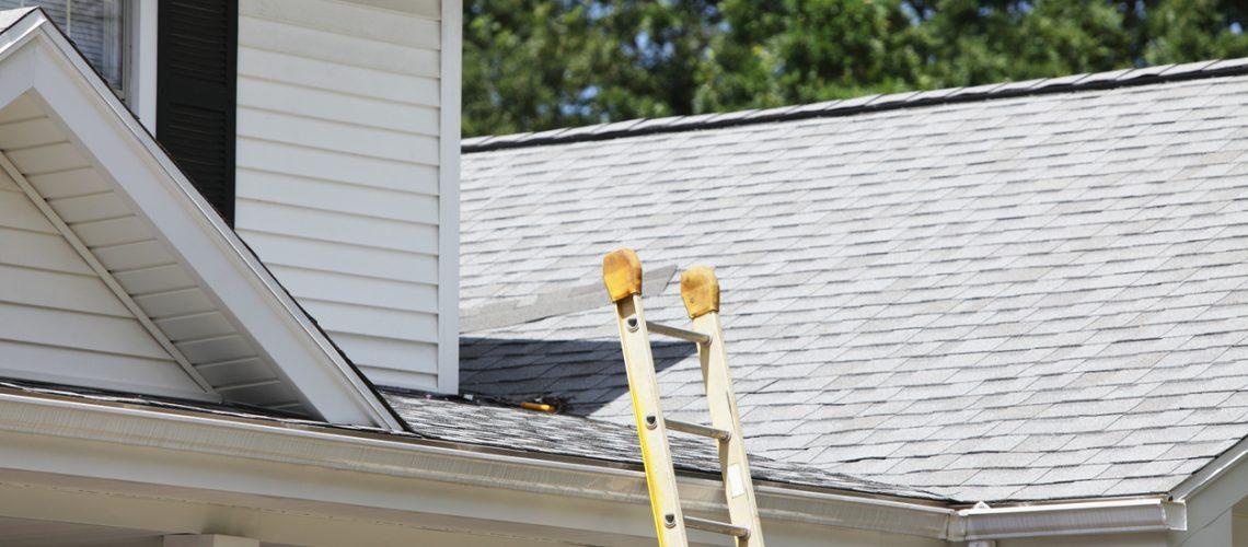 Ladder Leaning Against House Roof Gutter